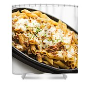 Baked Pasta With Meat And Cheese Shower Curtain