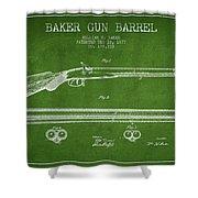 Baker Gun Barrel Patent Drawing From 1877- Green Shower Curtain