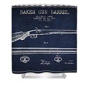 Baker Gun Barrel Patent Drawing From 1877- Navy Blue Shower Curtain