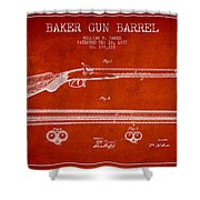Baker Gun Barrel Patent Drawing From 1877- Red Shower Curtain