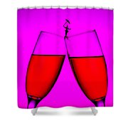 Balance On Red Wine Cups Little People On Food Shower Curtain