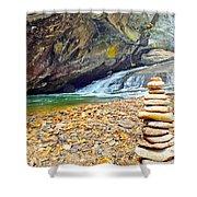 Balanced River Rocks At Birdrock Waterfalls Filtered Shower Curtain