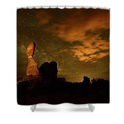 Balanced Rock And The Milky Way Shower Curtain