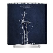 Balancing Of Wind Turbines Patent From 1992 - Navy Blue Shower Curtain