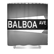 Balboa Avenue Street Sign Black And White Picture Shower Curtain