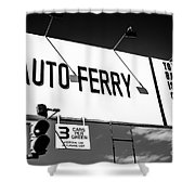 Balboa Island Ferry Sign Black And White Picture Shower Curtain by Paul Velgos
