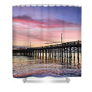 Balboa Pier Sunset Shower Curtain by Kelley King