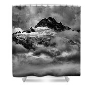 Balck And White Tantalus Peaks Shower Curtain