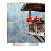Balcony Overlooking The Forest Shower Curtain