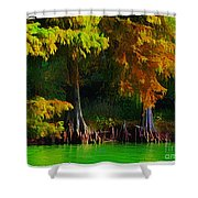 Bald Cypress 3 - Digital Effect Shower Curtain