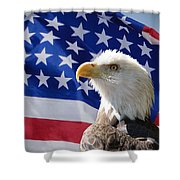 Bald Eagle And American Flag Shower Curtain