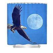 Bald Eagle And Full Moon Shower Curtain