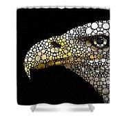 Bald Eagle Art - Eagle Eye - Stone Rock'd Art Shower Curtain by Sharon Cummings
