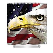 Bald Eagle Art - Old Glory - American Flag Shower Curtain