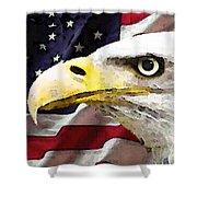 Bald Eagle Art - Old Glory - American Flag Shower Curtain