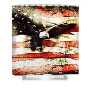 Bald Eagle Bursting Thru Flag Shower Curtain