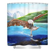 Bald Eagle Having Dinner Shower Curtain
