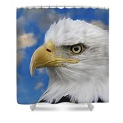 Bald Eagle In The Clouds Shower Curtain