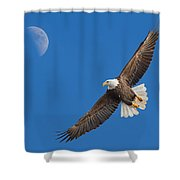 Bald Eagle Soaring With The Moon Shower Curtain