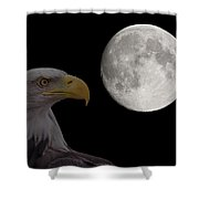 Bald Eagle With Full Moon - 2 Shower Curtain