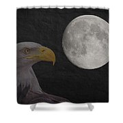 Bald Eagle With Full Moon - 3 Shower Curtain