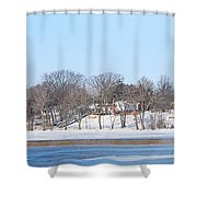 Bald Eagles In Tree In Grand Rapids Ohio Panorama Shower Curtain