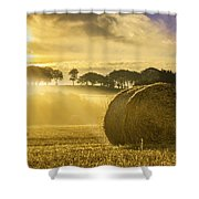 Bales In The Morning Mist Shower Curtain