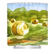 Bales In The Morning Sun Shower Curtain by Kip DeVore