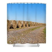 Bales Of Hay On An Old Farm Road Shower Curtain
