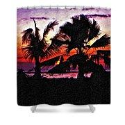 Bali Sunset Impasto Paint Version Shower Curtain
