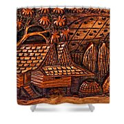 Bali Wood Carving Shower Curtain