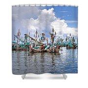 Balinese Fishing Boats Shower Curtain