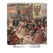 Ball At The Court, Illustration Shower Curtain