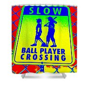 Ball Player Crossing Shower Curtain