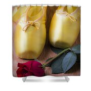 Ballet Shoes With Red Rose Shower Curtain