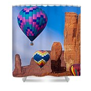 Balloon Festival In Monument Valley Shower Curtain