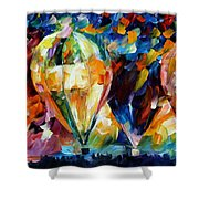 Balloon Parade - Palette Knife Oil Painting On Canvas By Leonid Afremov Shower Curtain