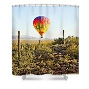 Balloon Ride Over The Desert Shower Curtain