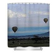 Balloons Above Serengeti. Shower Curtain