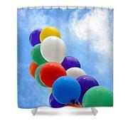 Balloons Against A Cloudy Sky Shower Curtain