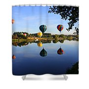 Balloons Heading East Shower Curtain by Carol Groenen
