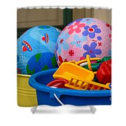 Balls And Toys In Buckets Shower Curtain