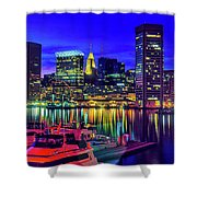 Baltimore Harbor By Night, Baltimore Shower Curtain