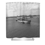 Baltimore Harbor In Black And White Shower Curtain