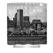 Baltimore Harbor Skyline Panorama Bw Shower Curtain