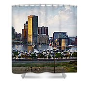 Baltimore Harbor Skyline Panorama Shower Curtain