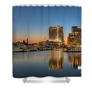 Baltimore Inner Harbor East Skyline At Dawn I Shower Curtain