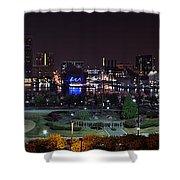 Baltimore Inner Harbor Skyline Night Panorama Shower Curtain