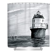 Baltimore Lighthouse In Gray  Shower Curtain