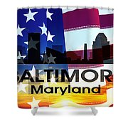 Baltimore Md Patriotic Large Cityscape Shower Curtain